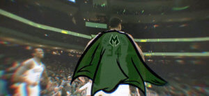 Giannis Antetokounmpo of the Milwaukee Bucks running down the court with an illustrated cape.
