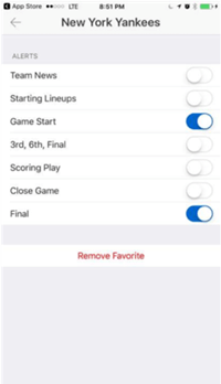 Screenshot of phone settings page showing the ESPN app's opt-in configurations..